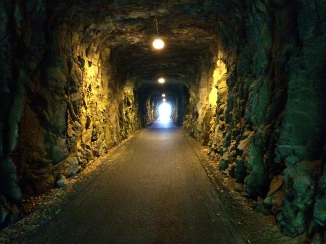 Buaholms tunnel där en gång det gamla smalspårståget passerade. Numera en trevlig GC-bana (GeoCache-bana)